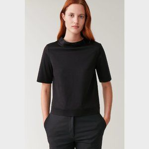 COS Black Mock Neck Jersey Top Blouse Size L